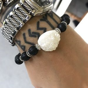 Genuine white druzy quartz lava rock bracelet